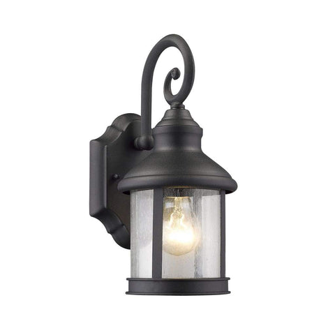 "GALAHAD Transitional 1 Light Black Outdoor Wall Sconce 12"" Height"