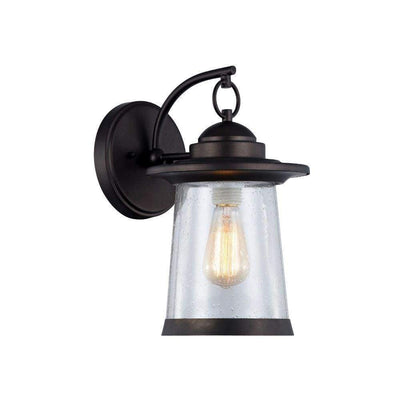 "Linon Transitional 1 Light Rubbed Bronze Outdoor Wall Sconce 13"" Height"