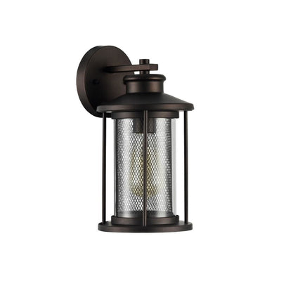 11 Industrial Mesh Metal Wall Sconce with Clear Glass Shade Bronze CHL-CH22071RB11-OD1