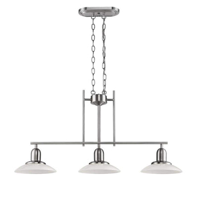 Tubular Island Pendant Lamp with 3 Glass Shades, Chrome and White