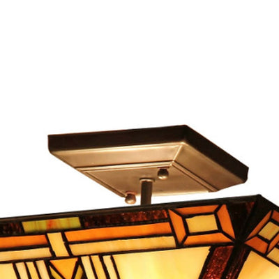 GODETiffany-style 2 Light Mission Semi-flush Ceiling Fixture 14 Shade CHL-CH33291MS14-UF2