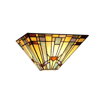 "KINSEYTiffany-style 1 Light Mission Wall Sconce 12"" Wide"