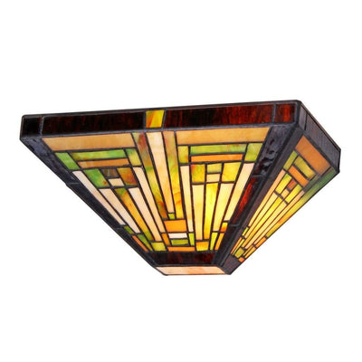 "INNES Tiffany-style 1 Light Mission Wall Sconce 12"" Wide"