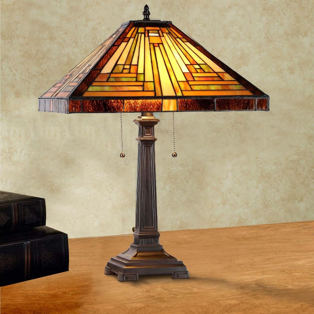 """INNES Tiffany-style 2 Light Mission Table Lamp 16"""" Shade by Chloe Lighting"""