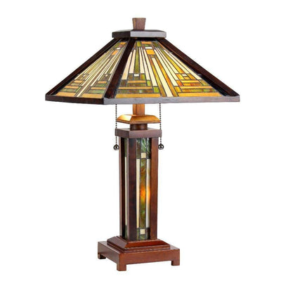 15 Inch Wooden Frame Table Lamp with Tiffany Style Glass Shade, Multicolor