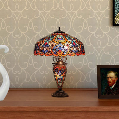 Victorian Design Glass Table Lamp with Trophy Style Base, Multicolor