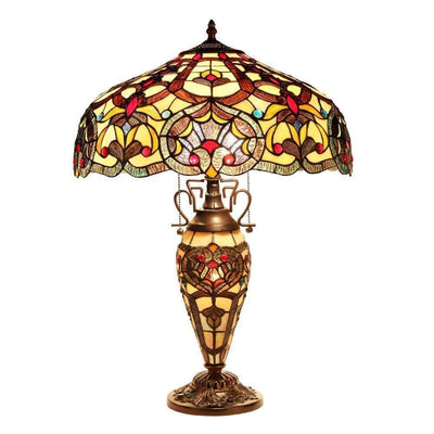 "SADIE Tiffany-style 3 Light Victorian Double Lit Table Lamp 18"" Shade"