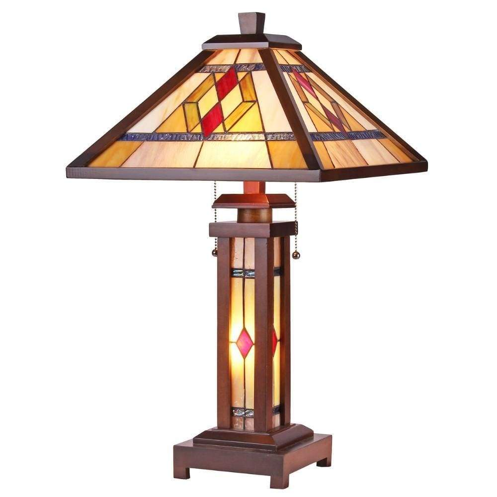 "Gareth Tiffany-style Mission 3 Light Double Lit Wooden Table Lamp 15"" Shade"