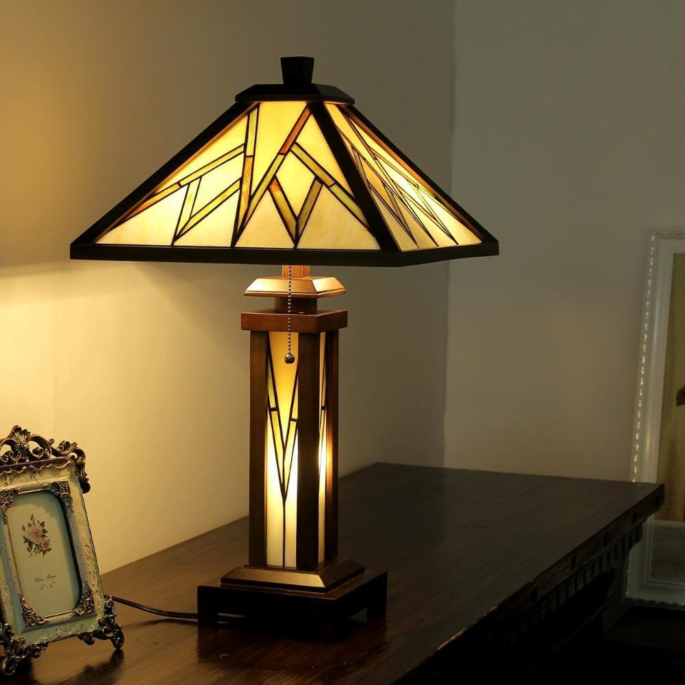 Tiffany Style Double Lit Table Lamp with Hand Cut Geometric Design, Brown