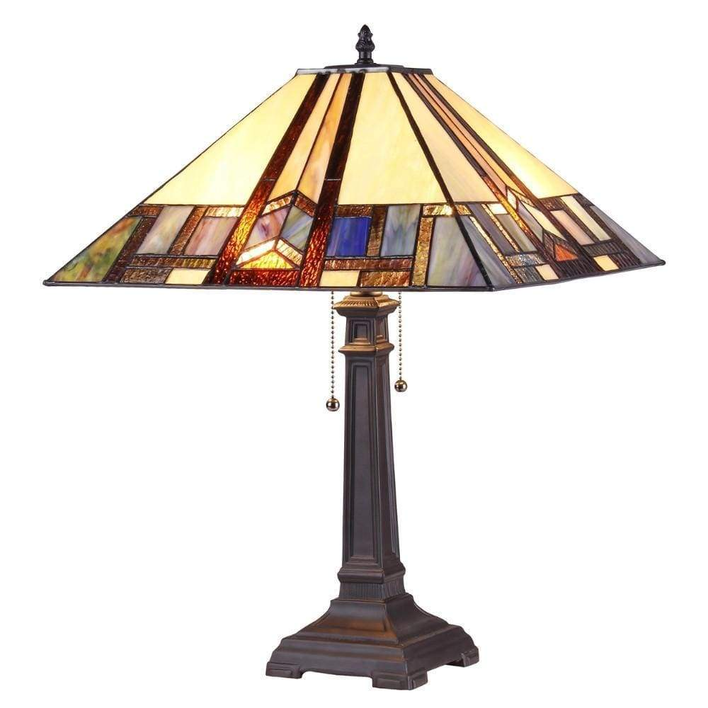 "Gaheris Tiffany-style 2 Light Mission Table Lamp 16"" Shade"