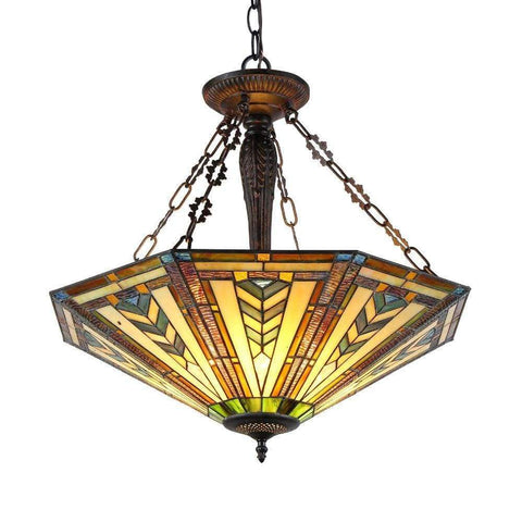 "Nora Tiffany Style Victorian 2 Light Inverted Ceiling Pendant 18"" Shade"