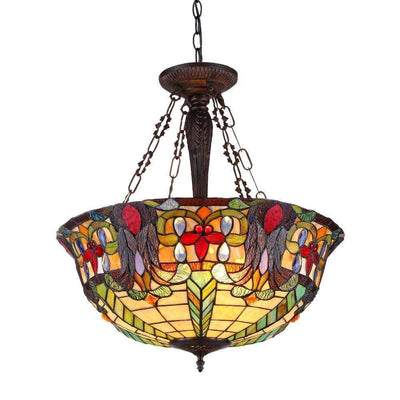 3 Light Tiffany Inverted Ceiling Pendant Fixture, Multicolor