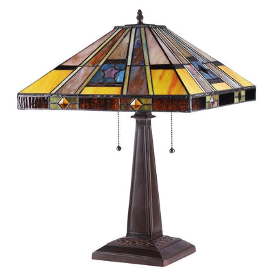 16 2-Light Tiffany Style Table Lamp with Engraved Base Dark Bronze CHL-CH38868AM16-TL2