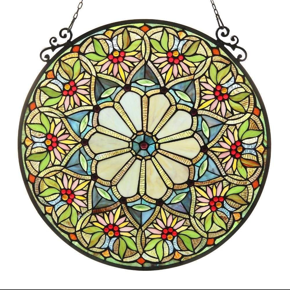 23.5 Inch Round Floral Tiffany Glass Window Panel, Multicolor