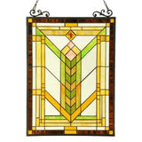 CHLOE Lighting BARLEY Tiffany-glass Mission Window Panel 18x24