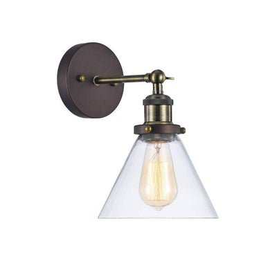 "Ironclad, Industrial-Style 1 Light Rubbed Bronze Wall Sconce 7"" Wide"