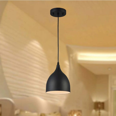 "Walter Industrial Matt Black 1 Light Pendant 7"" Wide"