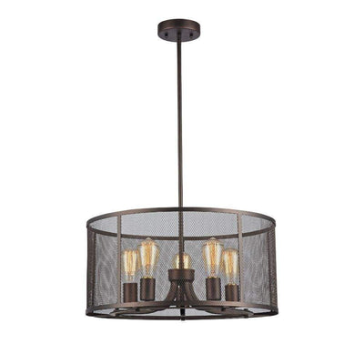"Ironclad, Industrial-Style 5 Light Rubbed Bronze Ceiling Pendant 20"" Wide"