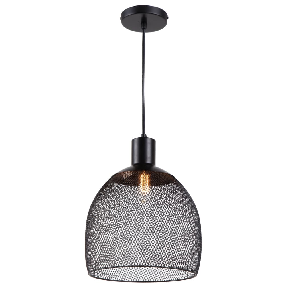 Industrial Style Mini Ceiling Pendant Light with Cage Shade, Black