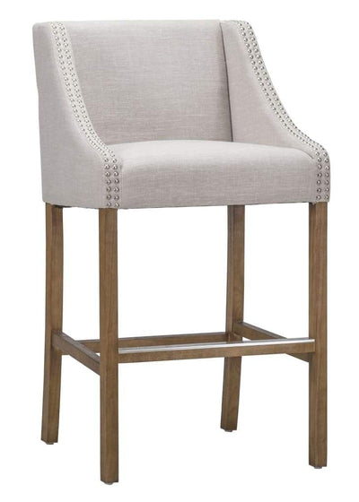 Wood and Fabric Barstool with Swooping Track Arms and Nail Head Trim, Beige and Brown - PL10123 By Casagear Home