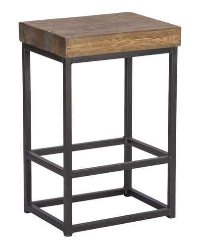 Iron Base Counter Height Stool with Pine Wood Seat, Brown and Black - PL14783 By Casagear Home