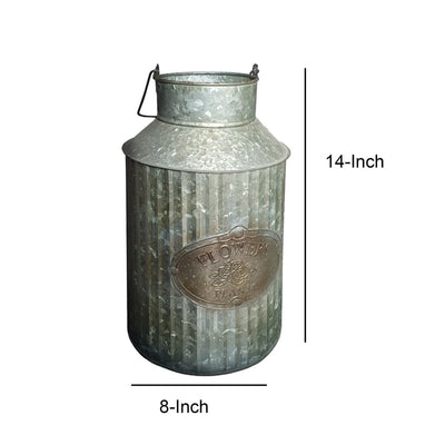 Decorative Flowers and Plants Metal Can with Handle Gray By Casagear Home CTW-770052