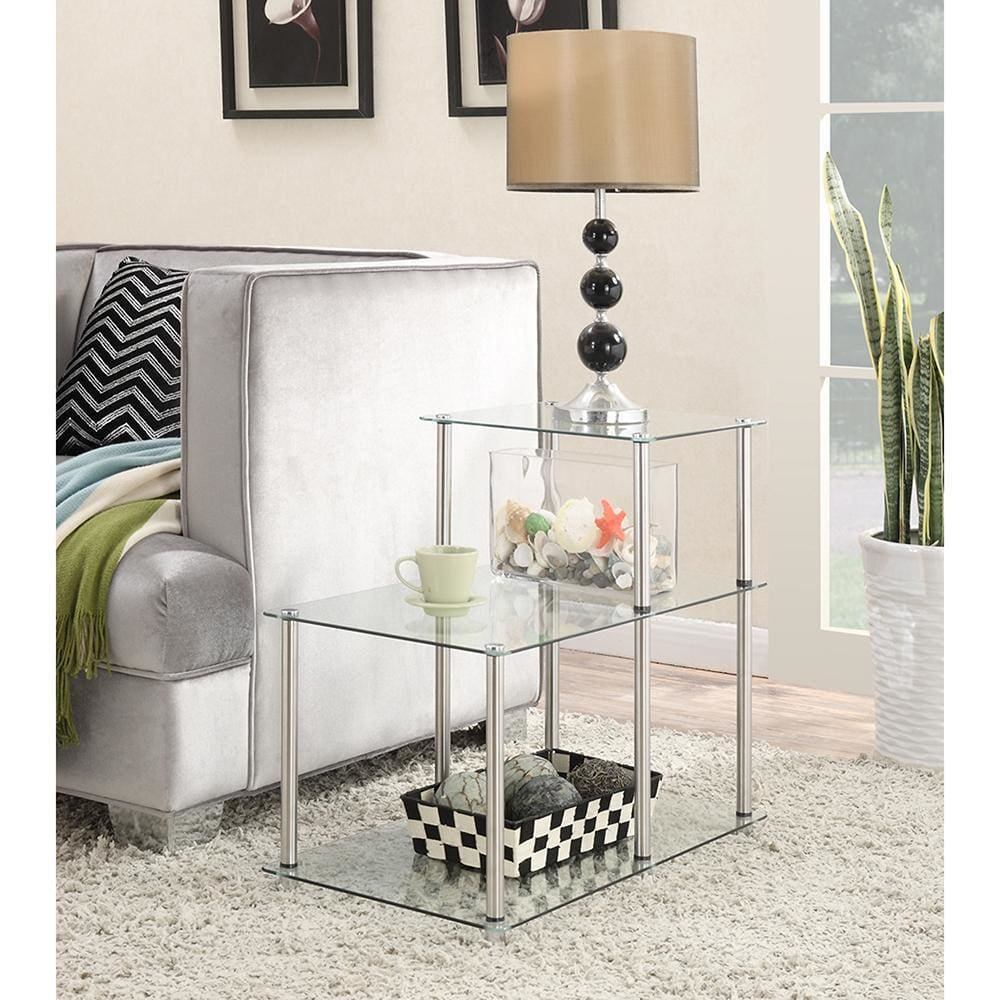 Designs2Go Classic Glass 3 Tier Step End Table - R2-237