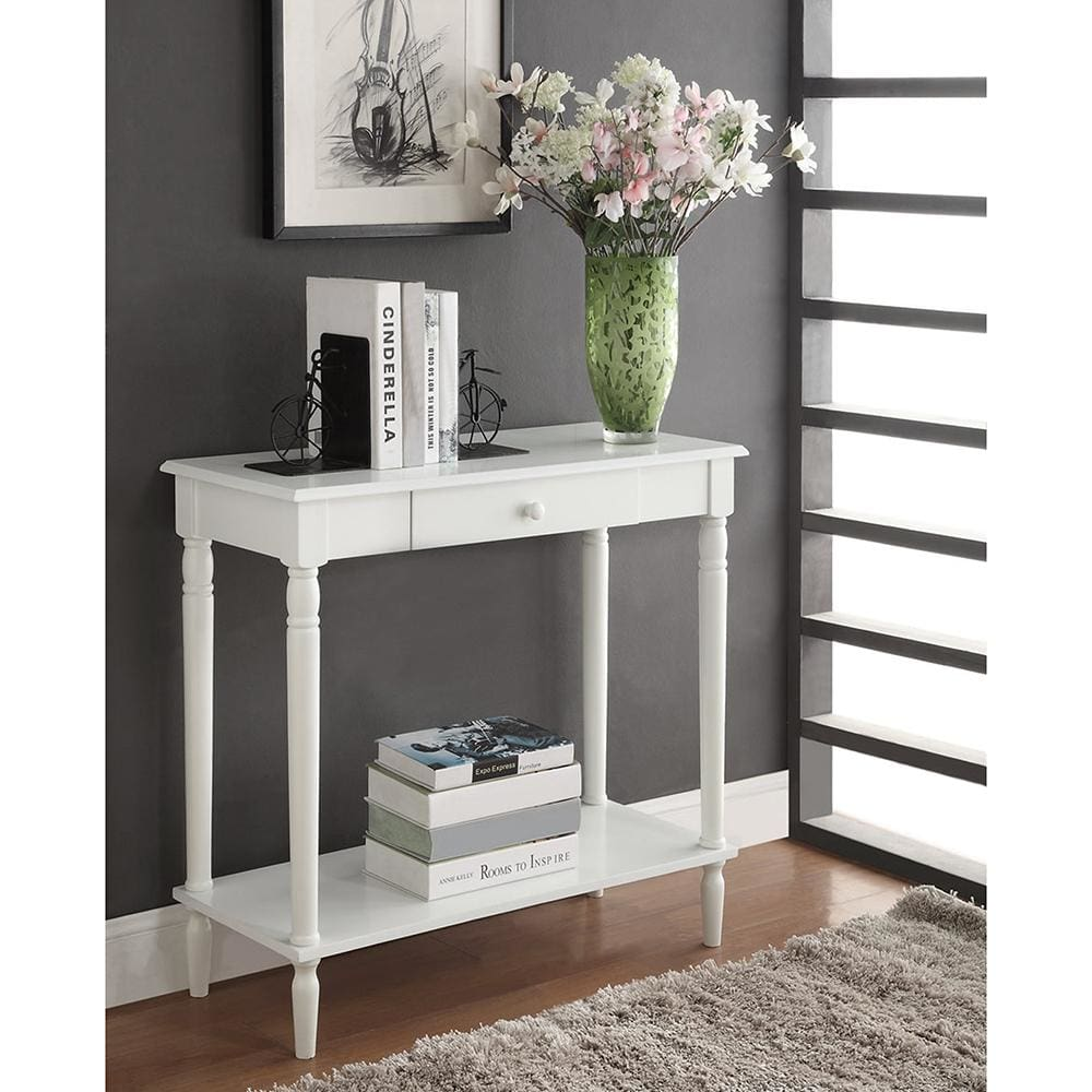 French Country Hall Table with Drawer and Shelf - R3-0126