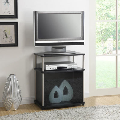Designs2Go TV Stand with Black Glass Cabinet - R5-103