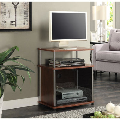 Designs2Go TV Stand with Black Glass Cabinet - R5-192