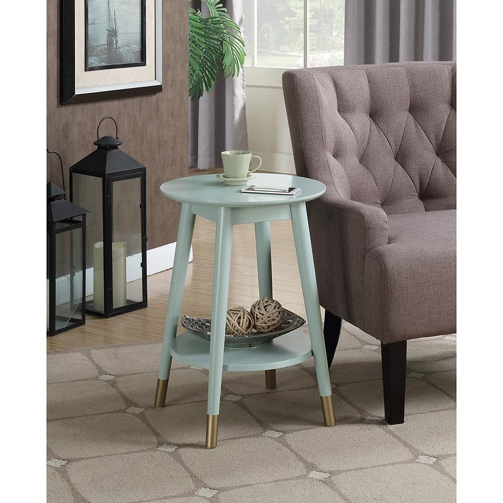 Wilson Mid Century Round End Table with Bottom Shelf - R6-258