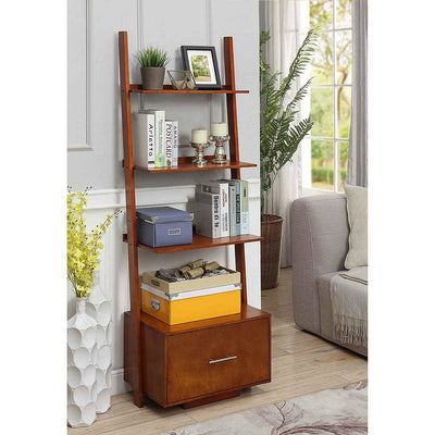 American Heritage Ladder Bookcase with File Drawer - R6-270