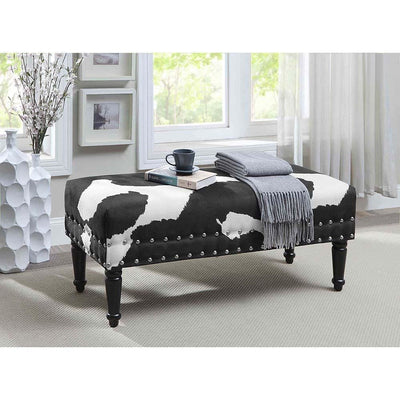 Designs4Comfort Faux Cowhide Bench with Nailheads - R9-122