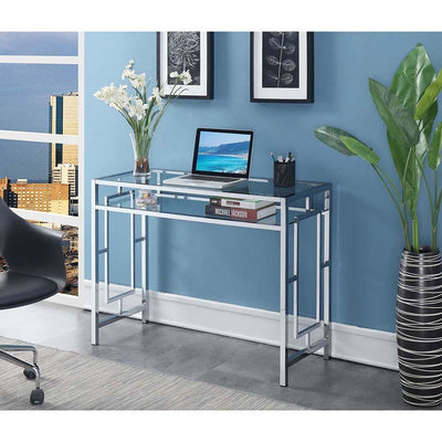 Town Square Chrome Desk With Shelf - S14-115