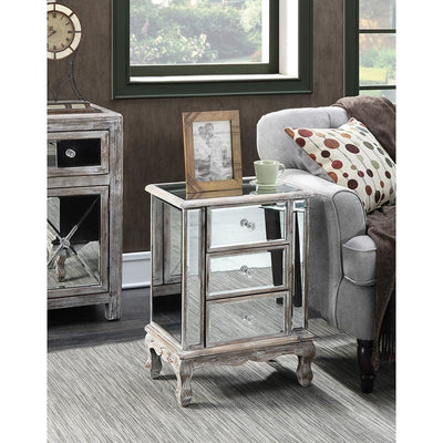 Gold Coast Vineyard 3 Drawer Mirrored End Table - U12-113
