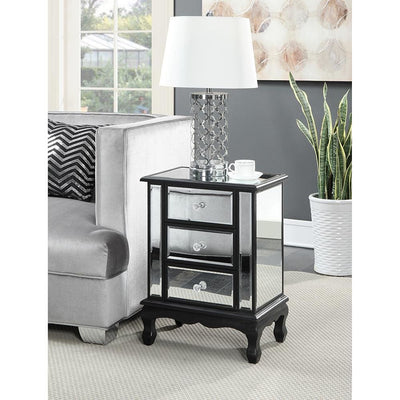 Gold Coast Vineyard 3 Drawer Mirrored End Table - U12-139