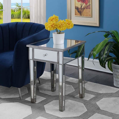 Gold Coast Mirrored End Table with Drawer - U12-205