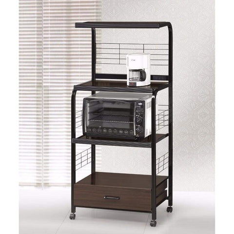 Wood And Metal Kitchen Cart On Casters, Brown And Black By Crown Mark