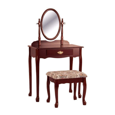 Vanity Table And Stool Set With Oval Mirror Cherry Brown By Crown Mark CWM-2209SET