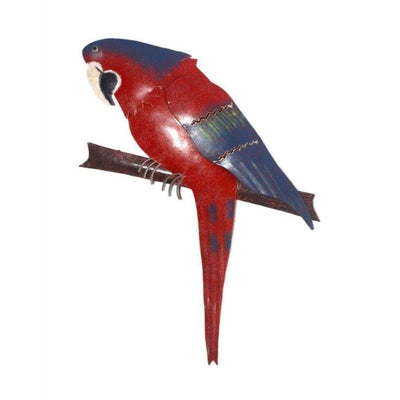 D Art Collection Iron Red Parrot WallDecor