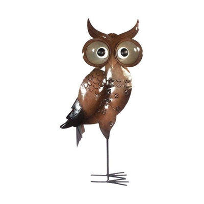 D Art Collection Iron Brown Standing OwlDecor Large