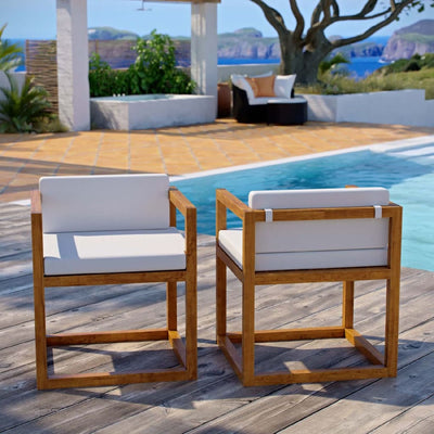 Newbury Outdoor Patio Premium Grade A Teak Wood Accent Armchair Set of 2 - EEI-4029-NAT-WHI MDY-EEI-4029-NAT-WHI