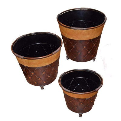Stylish 3Piece Metal Planter Brown-EN15111 ETD-EN15111