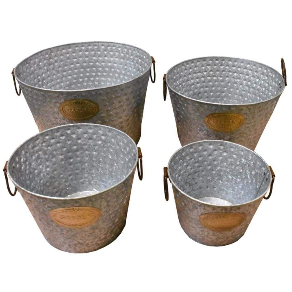 Old-Style Metal tub With Handle, Copper, Set Of 4-EN22118