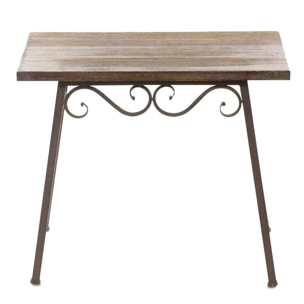 Old-Style Wood And Metal Table, Brown By Benzara