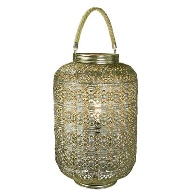 Dazzling Metal Lantern With Rope Handle, Gold -EN39037
