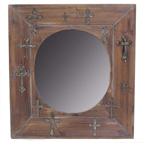 Rectangular Wall Mirror With  Geometric Cut-Out Frame, Silver