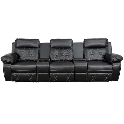 Real Comfort Series 3-Seat Reclining Black Theater Seating Unit W/Straight Cup Holder FLH-BT-70530-3-BK-GG