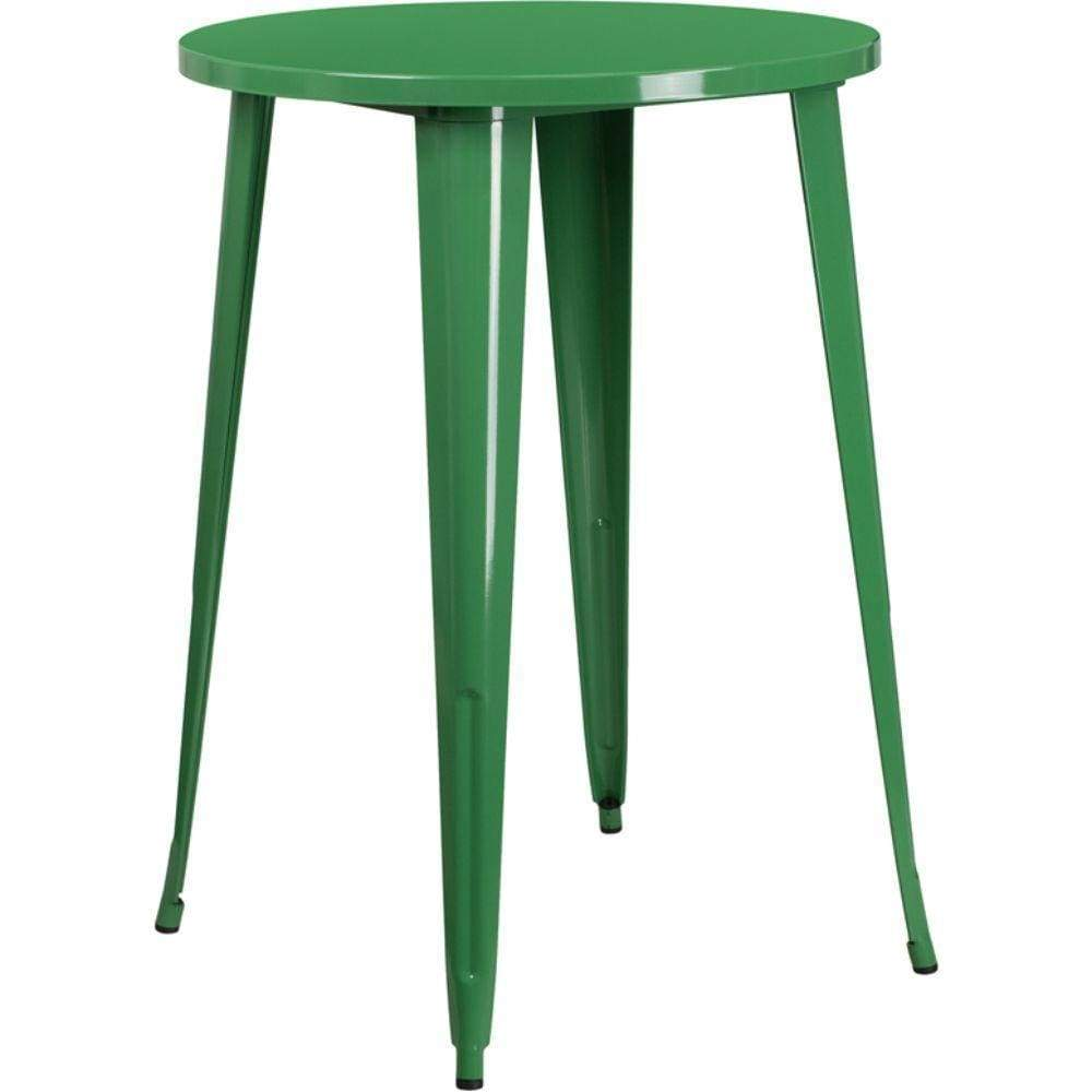 30'' Round Green Metal Indoor-Outdoor Bar Height Table [CH-51090-40-GN-GG]