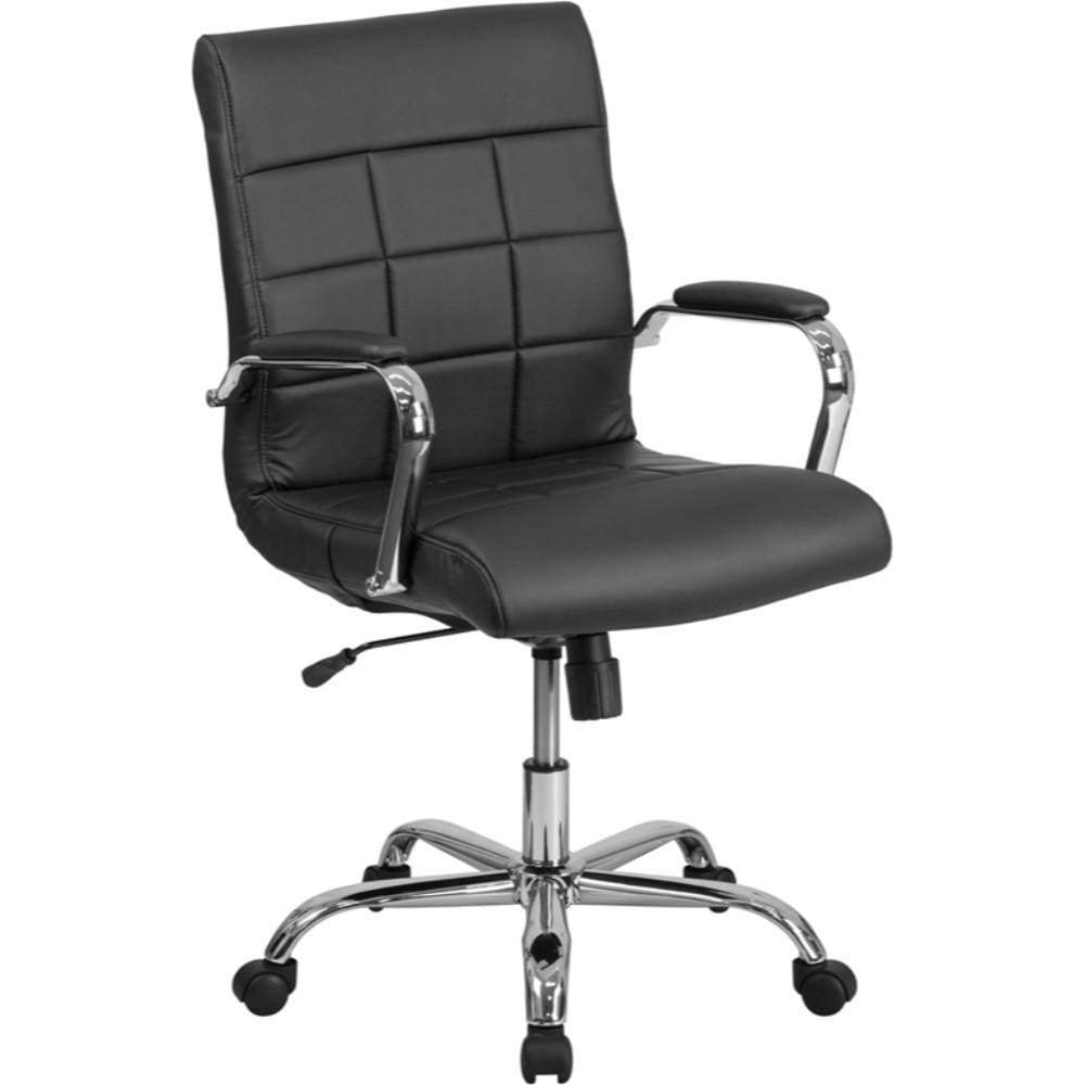 Mid-Back Black Vinyl Chair